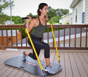 Woman uses NouFlex 2.0 on patio